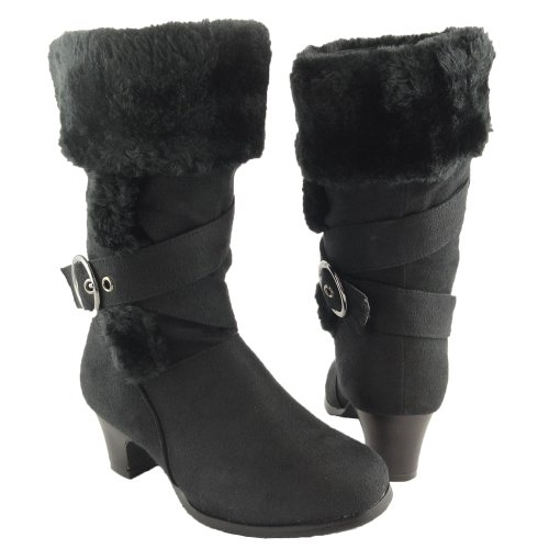 Girls' Faux Fur Collar Mid Calf High Heel Winter Suede Boots Black , 4