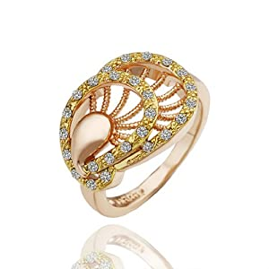 Virgin Shine 18K Gold Plated Rhinestones Overlapping Foot Leaves Ring