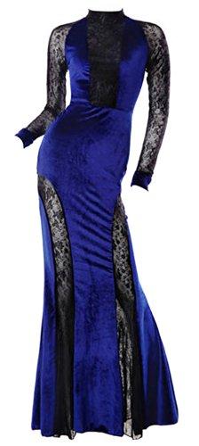 Vonfon Women Stand Collar Long Sleeve Perfect Curve Mermaid Pendulum Maxi Long Dress