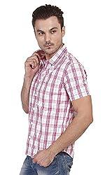 Yuvi Men's Slim Fit Cotton Shirt (10001996_White Pink_M)