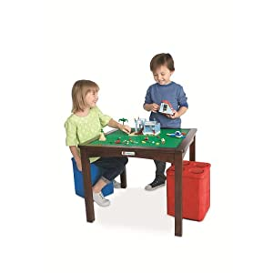 LEGO Table with 2 Storage Ottomans - Espresso from Toys R Us