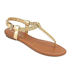 Women Roman Gladiator Braided Sandals Flat Thongs Ankle T-straps Shoes #2221 (9, Gold)