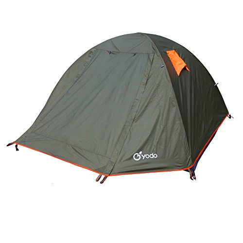 Yodo Spacious Waterproof Double Layer 4 Person Camping Backpacking Tent With Stuff Sack, Olive (4 Person Backpacking Tent compare prices)