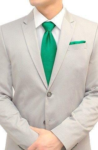 Men 39 s solid color necktie matching pocket square Emerald green mens dress shirt