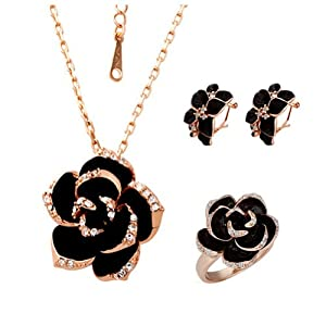 18k Rose Gold Plated Swarovski Elements Crystal CZ Rhinestone jewelry Sets Black Flower Necklace, Ring, Earrings