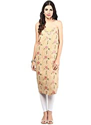 Nandini's Fawn Lucknawi Chikan Flowy Cotton Hand Embroidered Dress Material/ Unstitched Salwaar Kameez with Pure Chiffon Dupatta by SHENARO Lifestyle