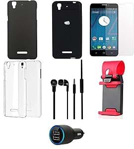NIROSHA Tempered Glass Screen Guard Cover Case Car Charger Headphone Mobile Holder Combo for YU Yureka Combo
