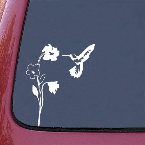 Hummingbird and Flower - (WHITE) Car Vinyl Decal Sticker