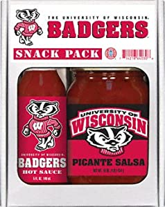 Wisconsin Badgers Ncaa Snack Pack 5oz Hot Sauce 16oz Picante Salsa from Hot Sauce Harry's