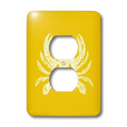 Lsp_164899_6 Inspirationzstore Vintage Art - White Crab. Golden Gold Yellow. Nautical Beach Sea Ocean Marine Animal - Light Switch Covers - 2 Plug Outlet Cover