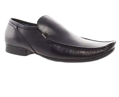 hush puppies mens black leather crotone slip on formal