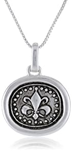 """Sterling Silver """"with out Courage All Other Virtues Lose Their Meaning-Churchill"""" Antique Silver Reversible Pendant Necklace with Fleur-de-Lis, 18"""""""