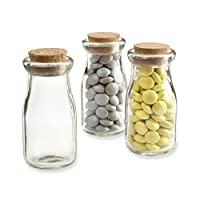 CTKcom Glass Jar Bottle Mason Jar, Milk Glass Storage Glass Square Glass ,with Cork Stopper, Set of 6(Milk Jar)