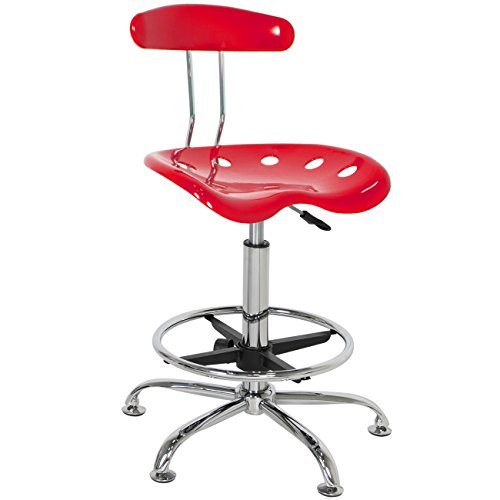 Best Choice Products ABS Tractor Seat Adjustable Bar Stools Swivel Chrome Drafting Chair Modern Red