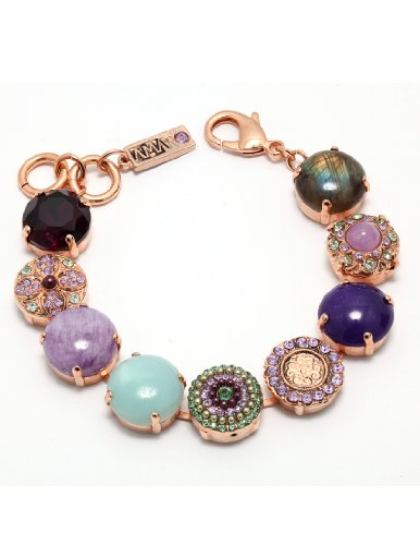 Amaro Jewelry Studio 'Spring Vibration' Collection Bracelet Adorned with Cape Amethyst, Rainbow Fluorite, Labradorite, Amethyst, Amazonite, Swarovski Crystals; 24K Rose Gold Plated
