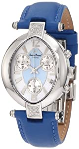 Lucien Piccard Women's 27039JEAN Miranda Chronograph Diamond Accented Blue Leather Watch