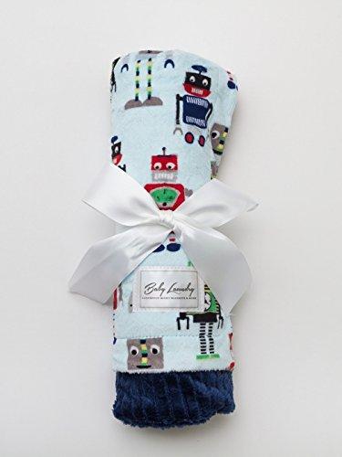 Robots/Embossed Navy Stripe Baby Blanket