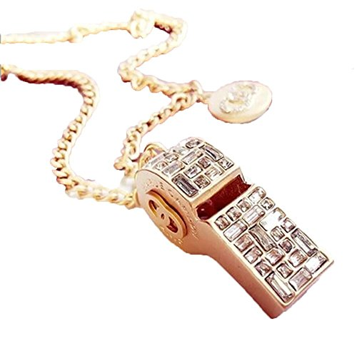 Grenf Fashion Gold Silver Plated Rhinestone Whistle Sweater Chain Necklace Crystal Can't Blow Whistle Necklace Pendant (Gold) (Gold Whistle Chain compare prices)