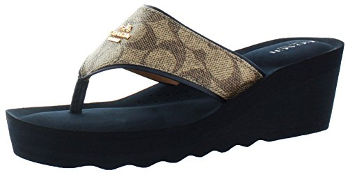 Coach Janice Women's Thong Wedge Leather Sandals Signature Blu Size 7 (Coach Slide Wedges compare prices)
