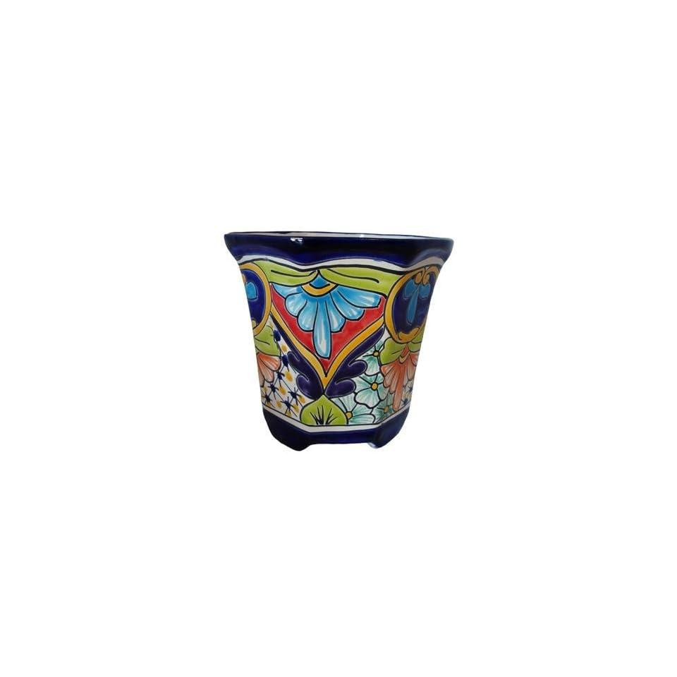 Terracotta, Octagon Hand Painted Talavera Planter Pot With Feet