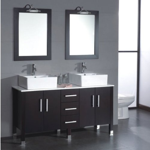 60 inch Wood & Porcelain Double Vessel Sink Bathroom Vanity Set # 08128