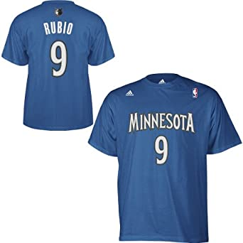 NBA Minnesota Timberwolves Ricky Rubio #9 Name & Number T-Shirt by adidas