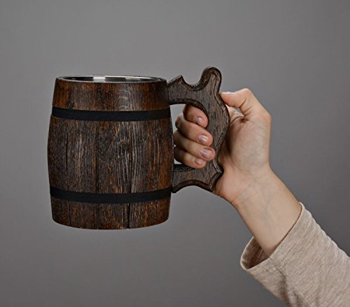 Large Beer Mug with Metal Inside Made of Wood Eco Friendly (Beer Mugs Medieval compare prices)