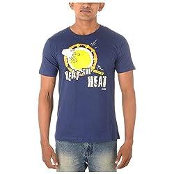 Chennai Gaga Men's Round Neck Cotton T-shirt Beat the heat 113-3-841-Inkblue-M