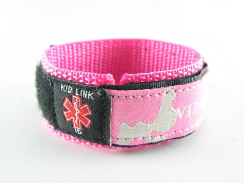 Kids, Child, - PINK - Girls Medical Alert ID Bracelet, Adjustabe - Free Medical ID Wallet Card Incld.