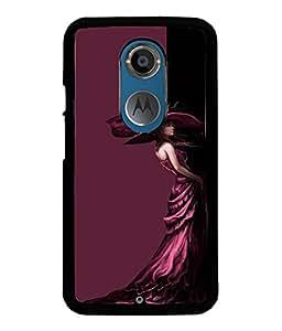 Fuson Well dressed Girl Back Case Cover for MOTOROLA MOTO X2 - D3922