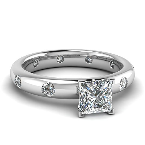 Fascinating Diamonds Circular Flush Engagement Ring 1.15 Ct Princess Cut Vs1-G Diamond 14K Gia