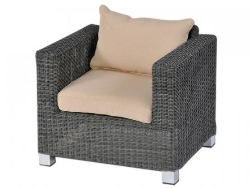 aniba Design Sessel inkl. Polster Lamai 2 aus Polyrattan, anthrazit