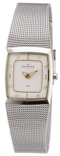 Skagen Women's 380XSGS1 Steel Collection Crystal Accented Mesh Stainless Steel White Dial Watch