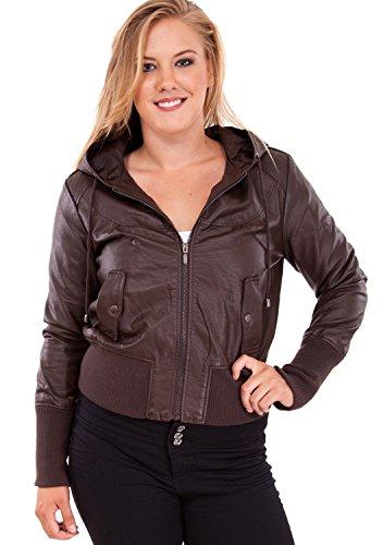 Ladies Plus Size Brown Hooded Synthetic Leather Jacket Ribbed Sleeves Hem