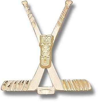 Michigan State Spartans MSU Hockey Sticks Pendant - 14KT Gold Jewelry by Logo Art