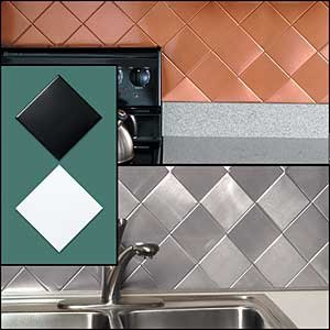 Handy Metal Kitchen Wall Tiles - Squares - Chrome