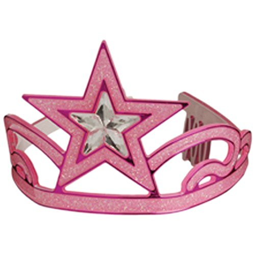 One Child Size Glitter Pink Star Theme Princess Tiara Crown - 1
