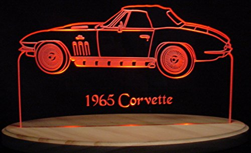 "1965 Chevrolet Corvette Convertible 13"" Acrylic Lighted Edge Lit Led Car Sign / Light Up Plaque 67 Chevy"