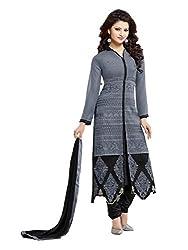 Fstore Grey georgette semistitched churidar salwar suit