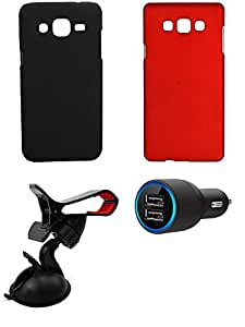 NIROSHA Cover Case Car Charger Mobile Holder for Samsung Galaxy ON7 - Combo