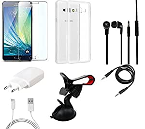 NIROSHA Tempered Glass Screen Guard Cover Case Charger Headphone Mobile Holder for Samsung Galaxy ON7 - Combo