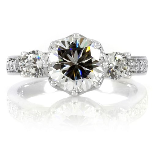 Renalde's Engagement Ring – 3 Stone Flower Set CZ – Round Cut CZ 925 Sterling Silver, 2 Carat