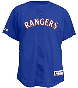 COOL-BASE Full Button Texas Rangers Major League Baseball Replica Jersey by Majestic