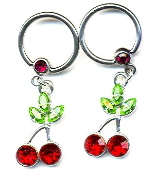 Body Accentz® Nipple Ring Cherry Captive Bead Body Jewelry Pair 14 gauge - Sold as a pair