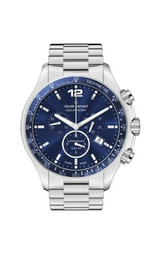 Claude Bernard Men's 10204 3B BUIN Aquarider Blue Chronograph Tachymeter Steel Watch