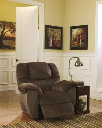 Darnely Contemporary Style Chocolate Soft Velvet Fabric Swivel Rocker Recliner front-1002627
