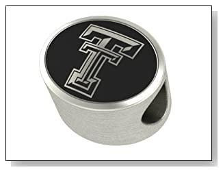 Texas Tech Red Raiders Collegiate Bead Fits Most Pandora Style Bracelets Including Pandora Chamilia Biagi Zable Troll and More. High Quality Bead in Stock for Immediate Shipping
