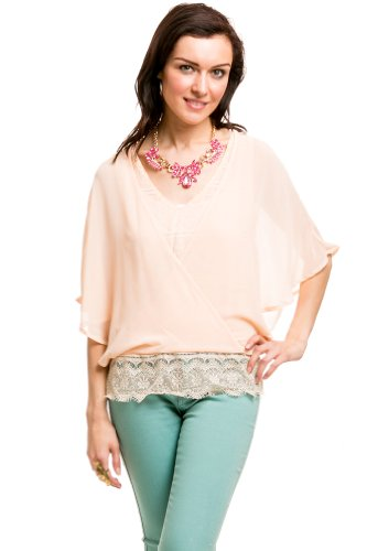 Lace Based Sheer Sleeved Top In Pink