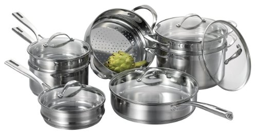 CAT CORA by Starfrit 12-Piece Stackable Stainless Steel Cookware Set
