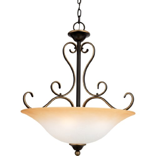 Quoizel DH2820PN Duchess 4-Light Chandelier with Champagne Marble Glass, Palladian Bronze